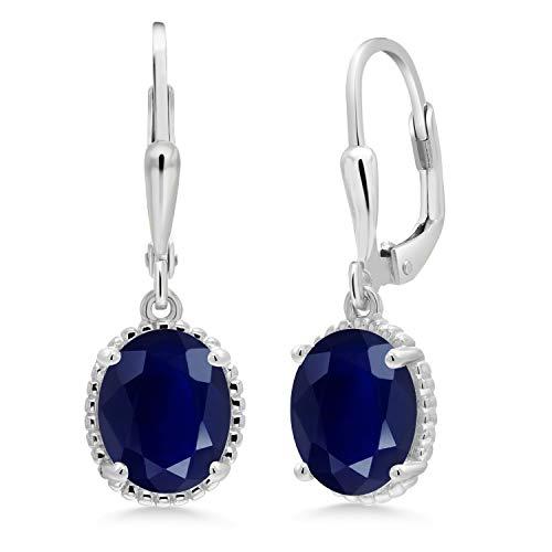 Blue Oval Drop Earrings - 5.00 Ct Oval Blue Sapphire 925 Sterling Silver Fashion Earrings