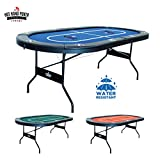 Hot Hand Poker Supply | Water-Resistant Speed Felt | 10 Player Folding Poker Table | Portable | Easy Storage | No Assembly Required | 84' L x 42' W x 30' H | Blue