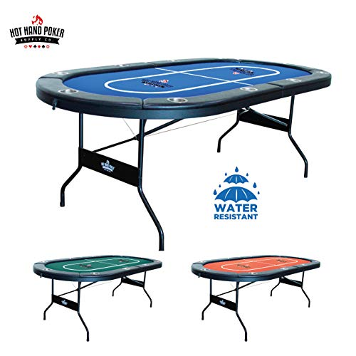Hot Hand Poker Supply Folding Poker Table for 10 Players with Water Resistant, Speed Felt (No Assembly Required) 10 Player Poker Table
