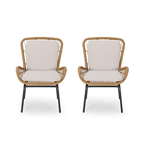 Alice Outdoor Wicker Club Chair with Cushions (Set of 2), Light Brown and Beige