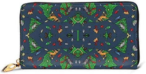 猫対クリスマスツリー 本革長財布 ファスナー財布 おしゃれ 大容量 男女共用高級おしゃれなジップレザーウォレットロングハンドバッグ