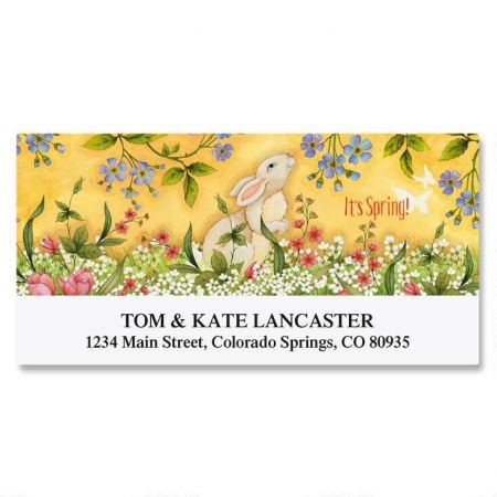 (Personalized Spring Bunny Easter Address Labels - Set of 144 1-1/8 x 2-1/4 Self-Adhesive, Flat-Sheet rectangle labels)