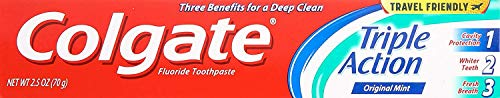 Colgate Anticavity, Original Mint, Triple Action Gel Toothpaste, 6 Pack - 2.5 Oz Ea (Total 15 Oz)