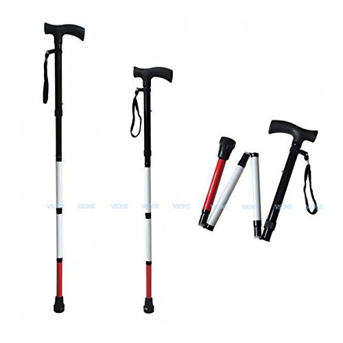 VISIONU Adjustable Folding Support Cane for the Blind 33 inch - 37 inch (Folds Down 4 Sections) VSONE