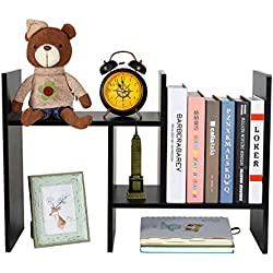 PAG Adjustable Desktop Bookshelf Assembled Countertop Bookcase Office Supplies Wood Desk Organizer Literature Display Rack, Black
