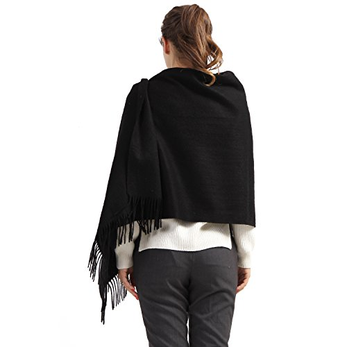 100% Cashmere Wrap Shawl Stole for Women, Guaranteed Quality Pure Cashmere, Super Soft and Warm Extra Large Scarf, Black