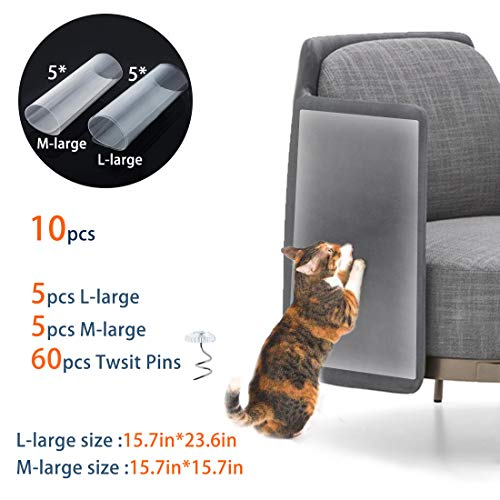Scratch Guard Self Adhesive - SSRIVER Furniture Protectors from Cats Stop Pets Scratching Furniture Cat Scratch Guards Self-Adhesive Pads Clear Deterrent with Twist Pins for Protecting Your Furniture