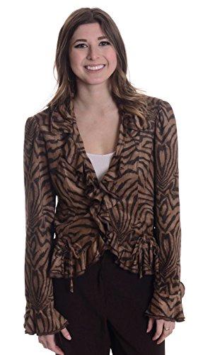 Joseph Ribkoff Women's Vegan Suede Ruffle Collar Short Jacket, Brown Zebra/Tiger Print, 8 - Animal Print Suede Jacket