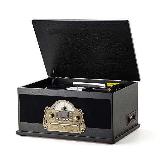 RcmNostalgic Wooden 7-in-1 Wireless Vinyl Record Player Music System with Built-in Stereo Speakers, 3-Speed Turntable, FM Radio, CD/Cassette Player, USB for MP3 Play & Recording (MC-263 Black)