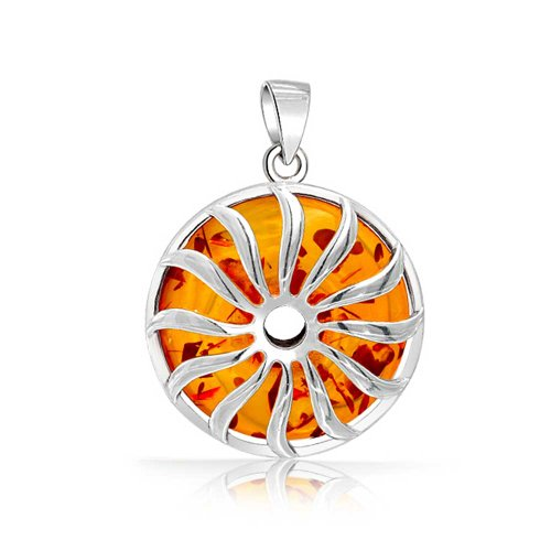 Round Circle Rising Sunburst Honey Amber Pendant Necklace For Women 925 Sterling Silver With Chain