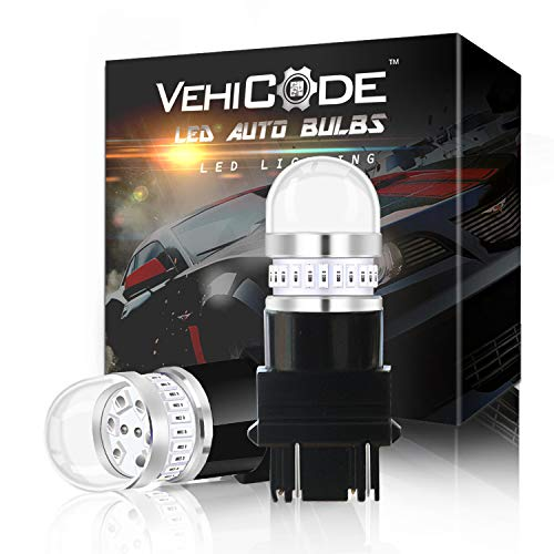 VehiCode Super Bright 950Lms 3157 Red Dual Function LED Light Bulb Kit - 3156 3457 3047 3057 4057 4157 4114 Plug-N-Play Replacement for Car Harley Rear Turn Signal Tail Brake Stop Light Lamp (2 Pack)