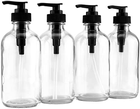 8-Ounce Clear Glass Pump Bottles 4-Pack w Black Plastic Pumps , Great as Essential Oil Bottles, Lotion Bottles, Soap Dispensers, and More