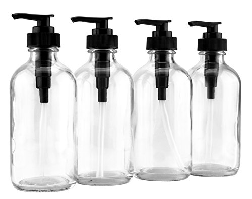 8-Ounce Clear Glass Pump Bottles (4-Pack w/Black Plastic Pumps), Great as Essential Oil Bottles, Lotion Bottles, Soap Dispensers, and More (Screw Closure Cap)