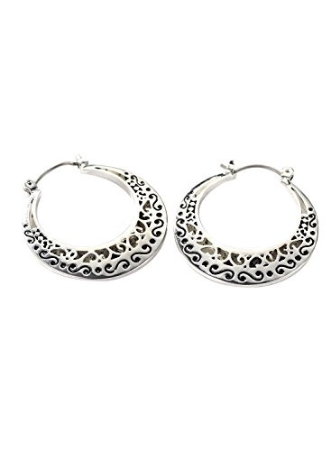 (Neoglory Jewelry Antique Silver Color Cutout Scroll Bali Click Hoop Earrings for Sensitive Ears)