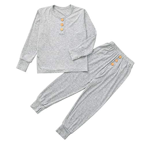 (2Piece Toddler Baby Boy Girl Pajamas Outfits Set, Solid Long Sleeve Button Top Pants Trousers Soft Sleepwear)