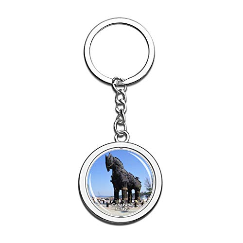 Canakkale Turkey Keychain 3D Crystal Spinning Round Stainless Steel Keychains Travel City Souvenir Key Chain Ring