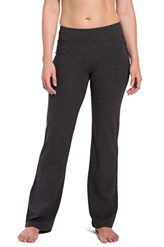 Fishers Finery Women's Bootleg Yoga Pant; Back Pockets (H Gry, XL)