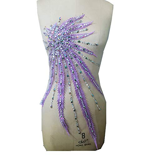 Multicolored Lace Sewing Diamond Appliques Patches Sew On Bridal Beaded Trim Wedding Dress Sequin Patch Garment Accessories (Purple)