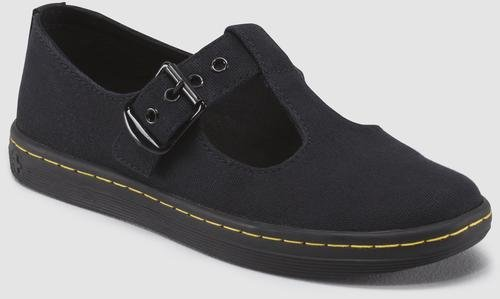 Lady Jane Shoes Adult (Dr. Martens Women's Woolwich Mary Jane Flat, Black Canvas, 5 Medium UK (7)
