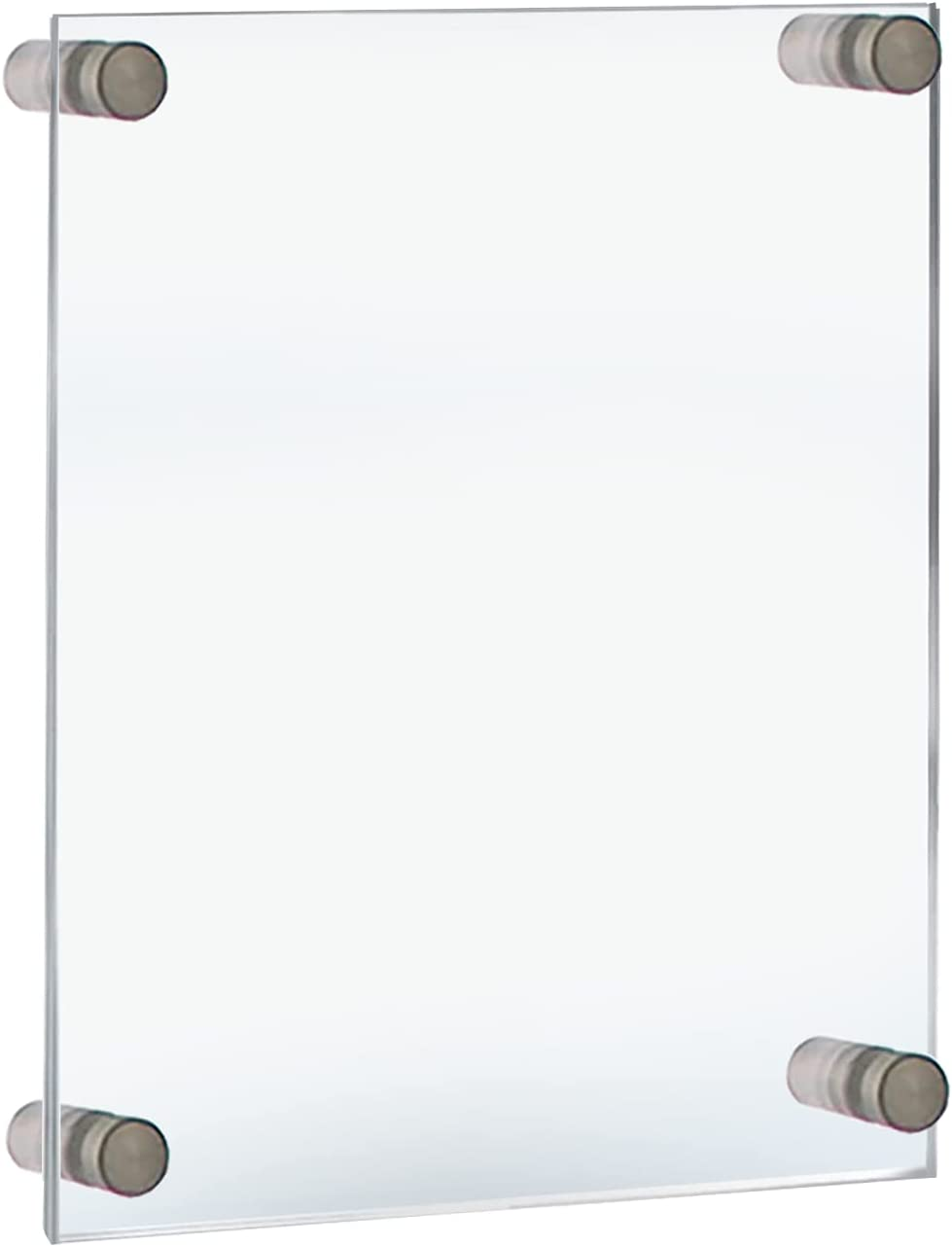 Azar Displays 105508 Floating Acrylic Wall Frame with Silver Stand Off Caps:11