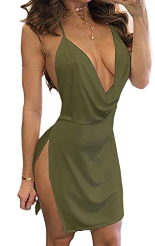 Cruiize Des Femmes De V-cou Couleur Unie Sexy Partie Du Club Backless Profond Mini-vert De L'armée Robe