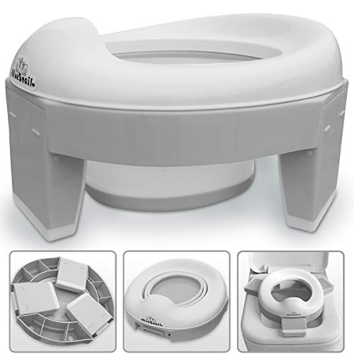 3-in-1 Go Potty for Travel, Portable Folding Compact Toilet Seat,Potty Training Toilet Chairs for Toddler Boys & Girls with storage Bag and Potty Liners by BlueSnail (Gray)