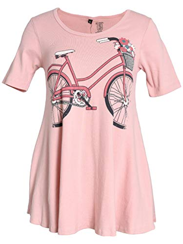 - Green 3 Spring Short Sleeve Tunic Top - 100% Organic Cotton Womens T Shirt, Made in The USA (Urban Cycler Bicycle on Light Pink, Large)