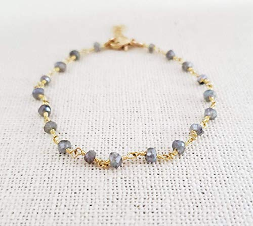 Gray Moonstone Bracelet - Gemstone Jewelry - Wire Wrapped Rosary Chain - 14k Gold Filled - Gift for Her