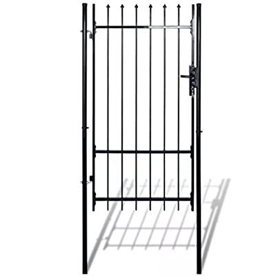 "HomeDecor Garden Gate Fence Gate Single Swing Steel with Spear Top, 3' 3"" x 6' 5"", Black"