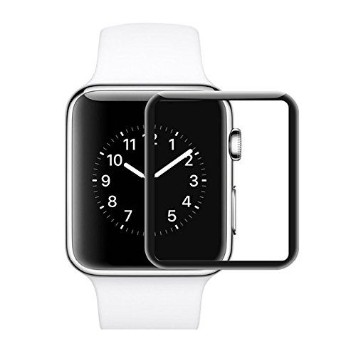 iWatch Screen Protector, 2pcs Full Coverage Tempered Glass Screen Protector 2.5D Curved Clear Display Screen Protector for iWatch 42mm - Black