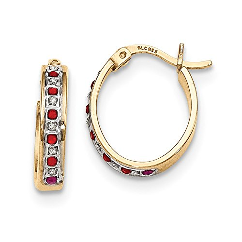 925 Sterling Silver Diamond Mystique Gold Plated Red Ruby Oval Hoop Earrings Ear Hoops Set Fine Jewelry Gifts For Women For Her