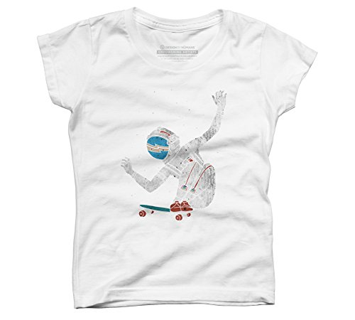Design By Humans Space Board Girl's Small White Youth Graphic T Shirt