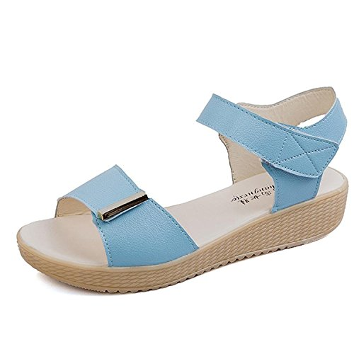 Kingko® Women's Summer Wedge Heel Candy Colour Sweet Style Sandals Beach Shoes Sky Blue H33jUyJ
