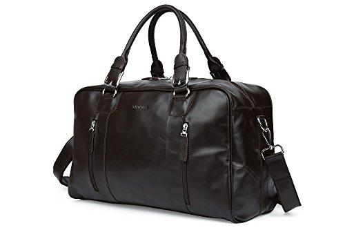 TIDING Herren Klassisch Nappa-echtes Leder-Spielraumduffle Weekender Außen Umhängetasche Tasche Handtasche Schwarz