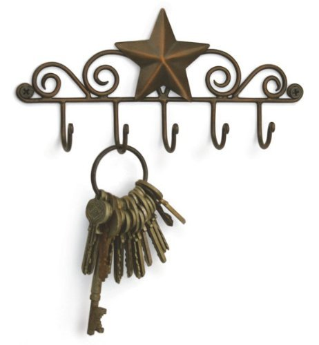 Star Key Rack Exclusive Key Holder Wall Organizer - Aged Copper Rustic Western American Decor ()