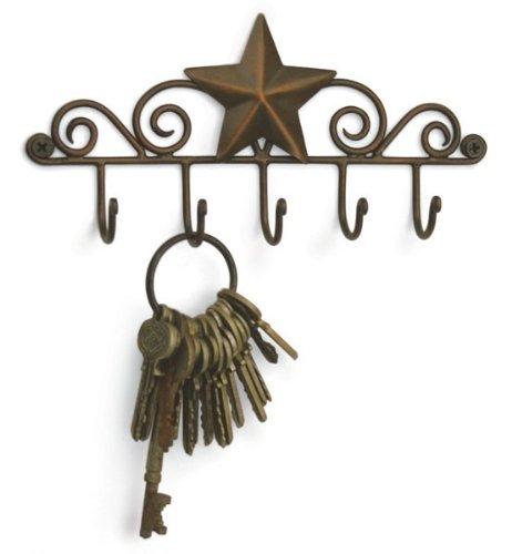 (Star Key Rack Exclusive Key Holder Wall Organizer - Aged Copper Rustic Western American Decor)