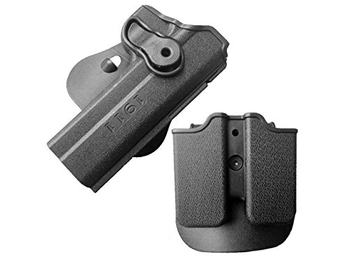 LTY Tactical Colt 1911 M1911 RH Pistol Paddle Belt Holster Gun Magazine Holster(Black)