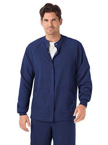 (Classic Fit Collection by Jockey Unisex Snap Front Warm Up Solid Scrub Jacket Small New Navy)