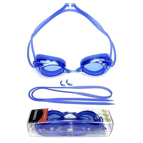 with Spare Head Strap and Hard Case Anti-Fog No Leak Swim Goggles for Adults Men Women Boys Girls UV Protection Clear//Mirrored Yuenree Racing Swimming Goggles