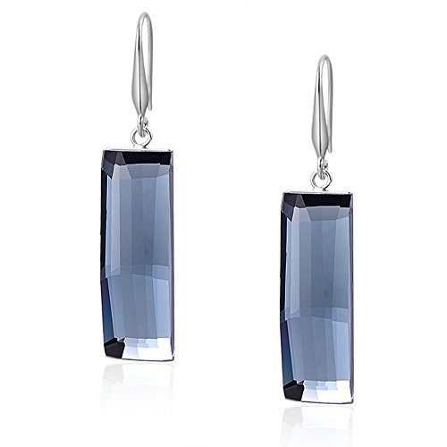 - Fashion 18K White Gold Plate Crystal Square Rectangle Earrings Drop Dangle Water Blue Earring for Women Girl
