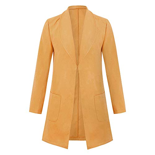 Toimothcn Mens Solid Slim Fit Open Trench Coat Jacket Long Sleeve Lapel Pea Coat (Yellow,XXXL) (Edge Cashmere Cardigan)
