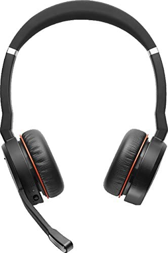 Amazon Com Jabra Evolve 75 Ms Wireless Headset Stereo Includes Link 370 Usb Adapter And Charging Stand Bluetooth Headset With World Class Speakers Active Noise Cancelling Microphone All Day Battery