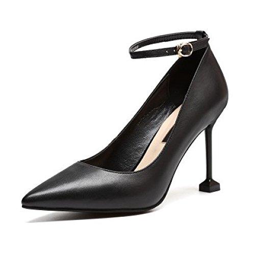 Bureau De De Pointu Orteil Hauts Fête Robe Femmes Cheville Travail De Chaussures Boucles Noir Black Pompes Talons Courroie Cour Escarpins Mariage OZUwwFqx