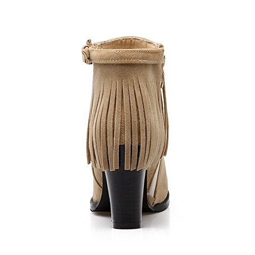 Women's Solid Round AgooLar Heels Boots Top Low Closed Beige High Toe Materials Blend BaZRUaWw
