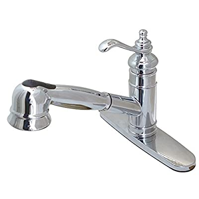 Kingston Brass Gourmetier GS7571TL Single Handle Pull Out Deck Mount Kitchen Faucet Ceramic Cartridge and Deck Plate Classic Style, Polished Chrome