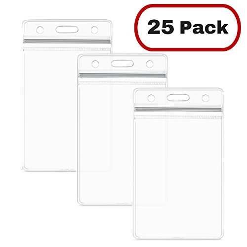 er (25 Pack), Clear Plastic Badge Holder, Resealable, Waterproof, Vertical Style (Weatherproof Card Reader)