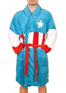Capitán América - albornoz - del superhéroe de Marvel Comics, con dos bolsillos, logotipo grande, muy suave, talla única