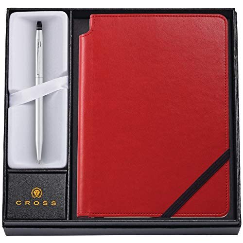Dayspring Pens | AT Cross Personalized Pen and Journal Gift Set - Cross Click Chrome Ballpoint with a Crimson Red Journal - Engraved. Comes in gift - Pen Crimson