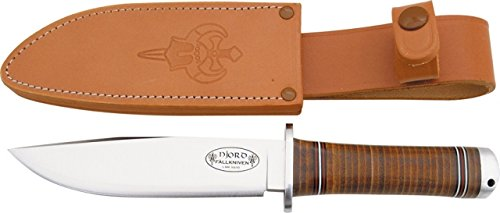 Fallkniven No 3 Njord Fixed Blade Knife, 5.875in, Stainless Blade, Stacked Leather Handle