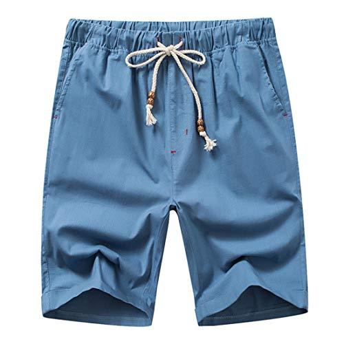 Mezclilla Azul y de Cortos Sueltos de Casuales Pantalones de Pantalones de los Denim algodón Lino Lino Playa Pantalones Pantalones Apparel de Azul Verano STAZSX de wX1BE